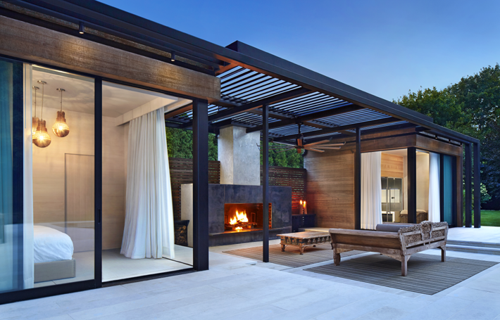 ICRAVE - Amagansett Pool House - John Muggenborg - pool house design ideas - luxury pool houses - guest house design ideas - hamptons interior design - top nyc interior designers - best interior designers in nyc - best nightclub designers - outdoor fireplaces - poolside fireplaces