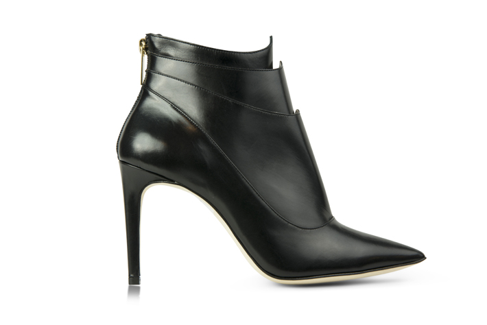 Tori Soudan Collection - Kelsie Black Booties - low black leather boots - italian leather shoes - female shoe designers - best black booties - designer shoes - designer boots