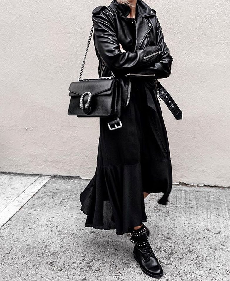 @figtny Black Leather Jacket by @aritzia, Purse by @gucci - From Comfy Tops to Red Dresses - How To Love Yourself No Matter What You Wear - black outfit ideas - fashion tips - outfit ideas - fashion to love yourself