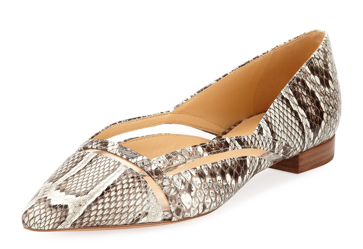 must have accessories - Alexandre Birman Sommer Python Snakeskin Ballet Flats with Vinyl Cutout - fashion tips - best flats - designer flats - python skin flats - exotic leather flats