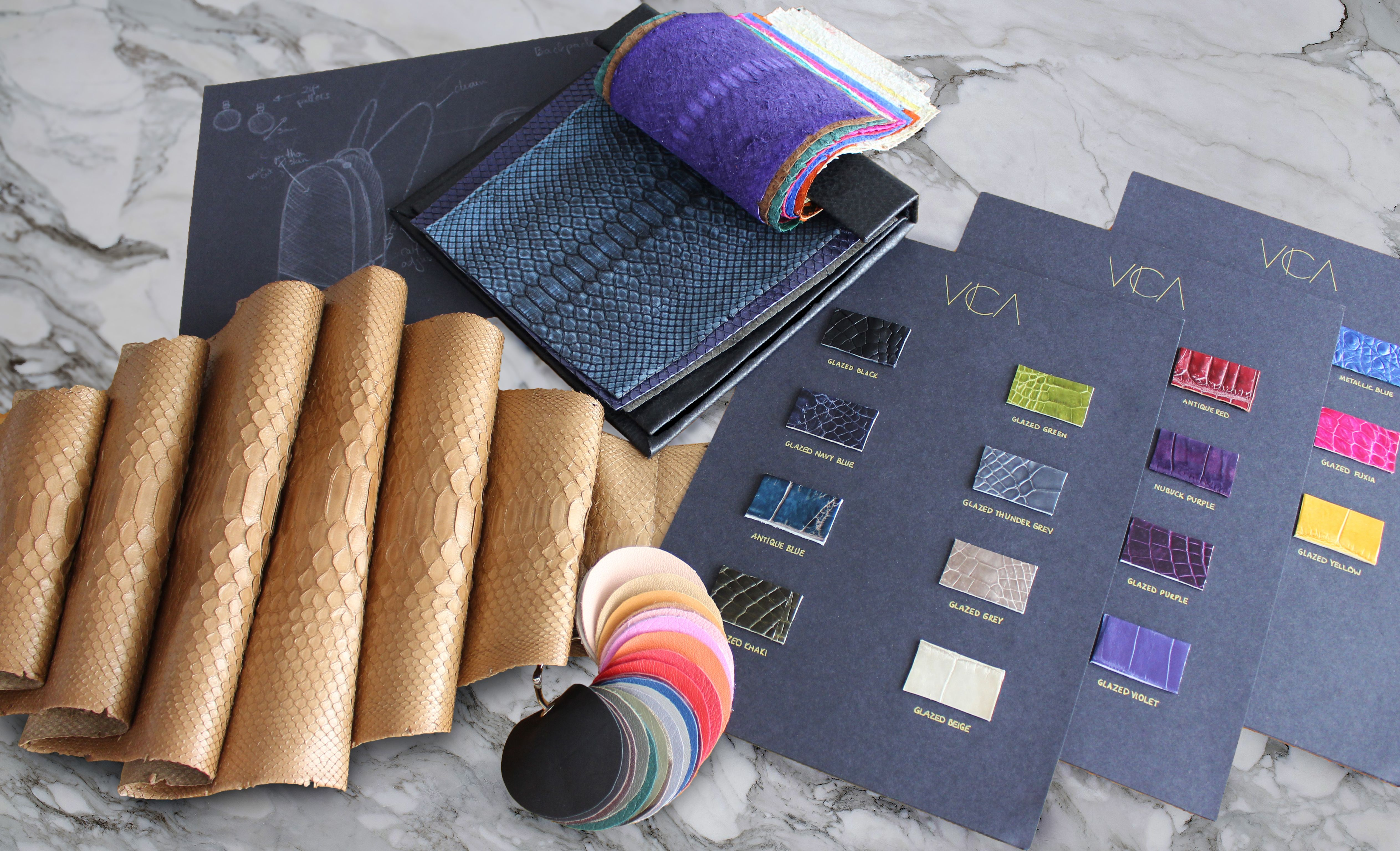 Exotic leather swatches www.vicacustom.com - vica custom - victoria chi - exotic skin bags - custom leather bags - custom handbags - custom purses - exotic skins - custom bags