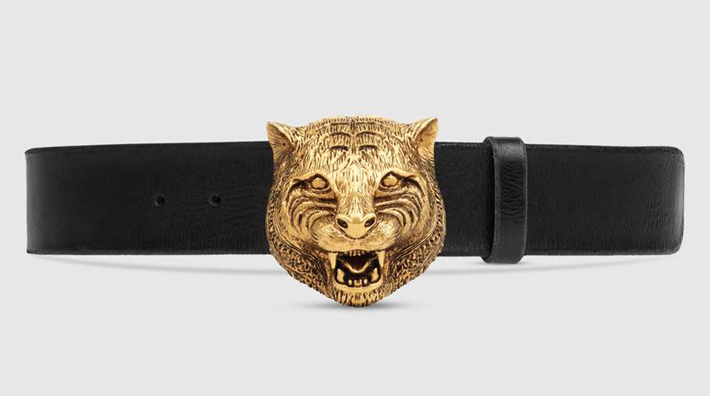 must have accessories - Fashion tips - Gucci Leather belt with feline buckle - fierce belts - animal belts - exotic belts - essential accessories - styling tips - unique belt buckles - gucci belts