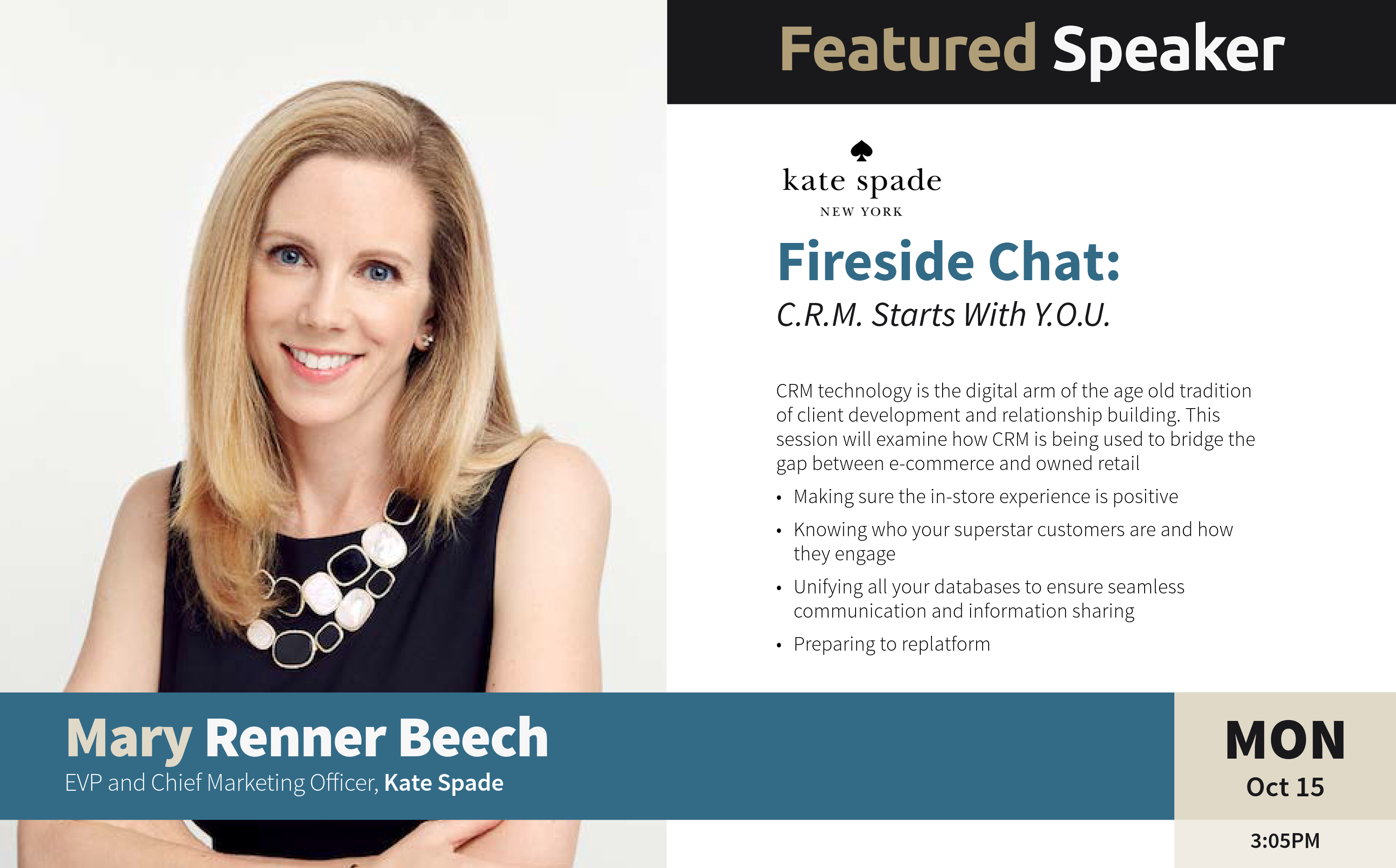 Mary Renner Beech, the EVP and CMO ofKate Spade - Luxury Interactive 2018 Speaker - new york city conferences - luxury conferences