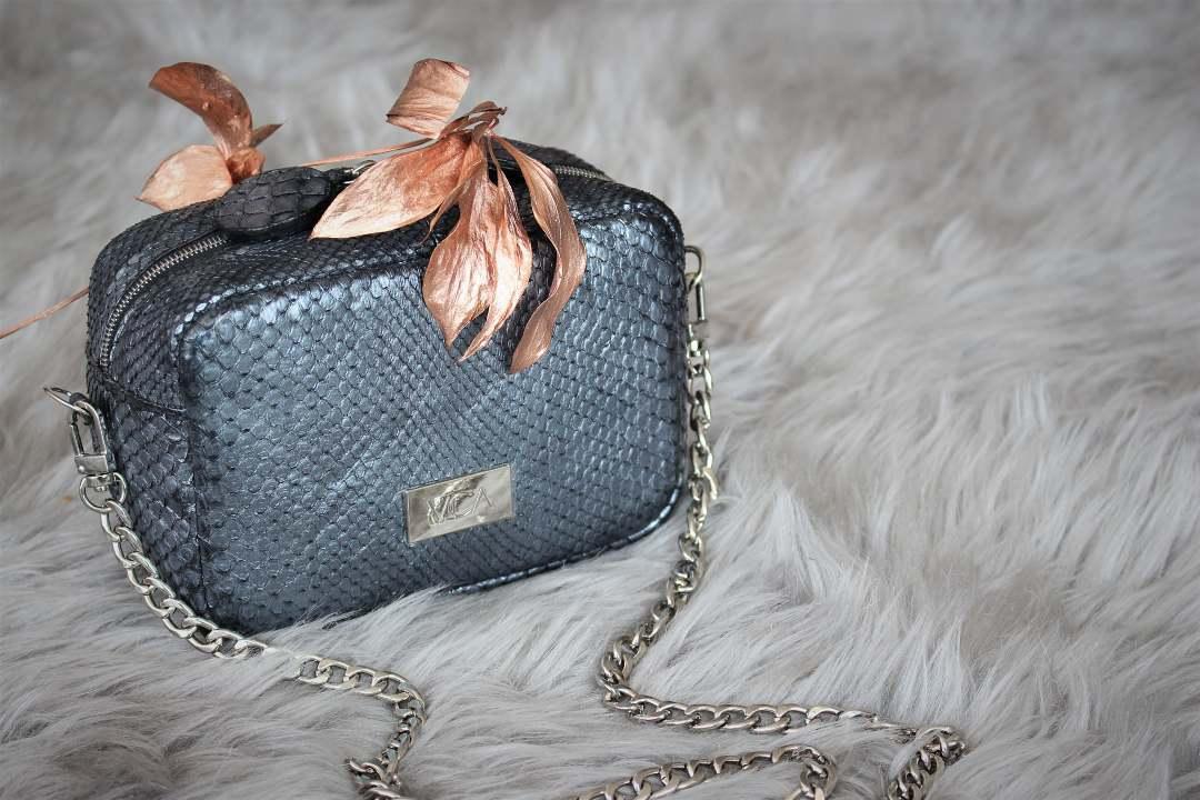 Mini Crossbody Bag in Gunmetal Python Leather by VICA Custom - Custom leather handbags - custom leather purses - metallic leather purses - custom exotic leather handbags