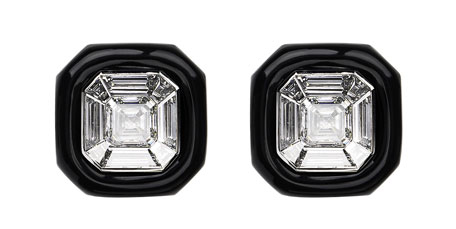 must have accessories - Nikos Koulish 18k white gold oui diamond and black enamel stud earrings - must have stud earrings - black and diamond designer stud earrings - essential accessories - fashion tips