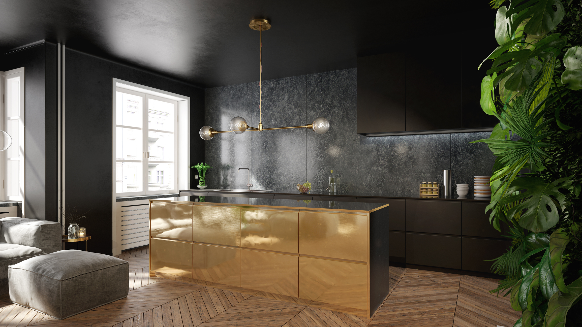 Sustainable architecture - how to combine luxury and eco-friendliness - Modern black and gold kitchen interior design - green architecture - sustainable kitchen designs - energy saving appliances - eco luxury - eco-friendly home design