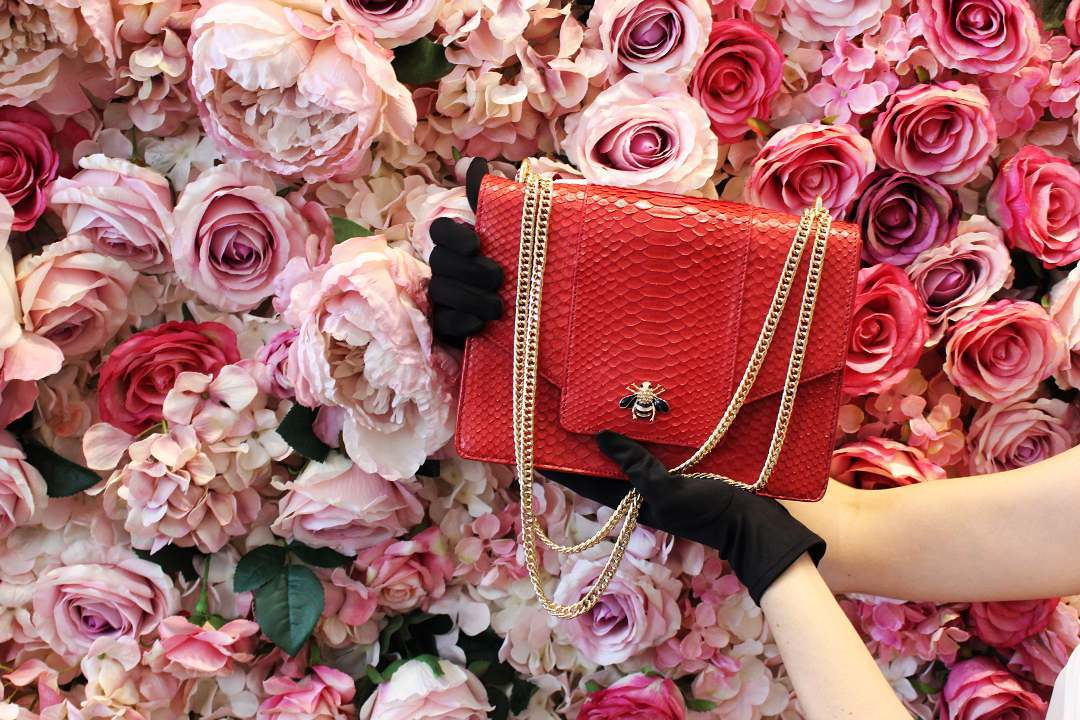 VICA Custom Empress Handbag In Red Python Leather - Victoria Chi - Custom Leather Accessories - exotic skin handbags - bespoke handbags - custom purses - bespoke purses - exotic leathers
