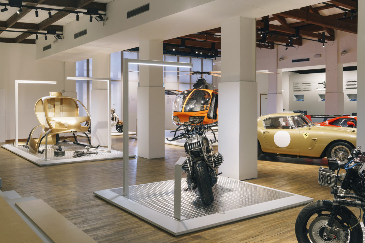 homo faber 2018 - handmade - Workshop Exclusives exhibit. Motorbike: David Borras, aka, El Solitario, Building motorbikes Helicopter: by Konner S.R.L, Sergio Bortoluz, Helicopter building Car: Ferrari, Bonini Garage, Carlo Bonini. Source: Photo by Marco Kesseler © Michelangelo Foundation