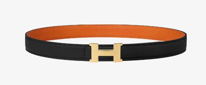 must have accessories - hermes mini constance belt buckle and reversible strap - orange noir