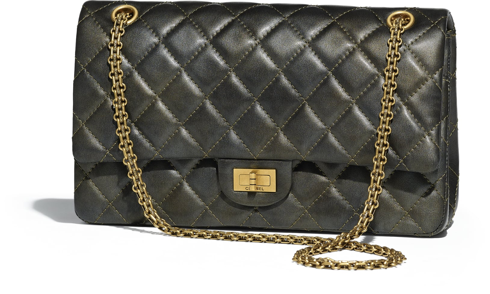 must have accessories - chanel 2.5 handbag charcoal metallic calfskin gold tone metal - iconic purses - designer purses - leather purses - luxury handbags