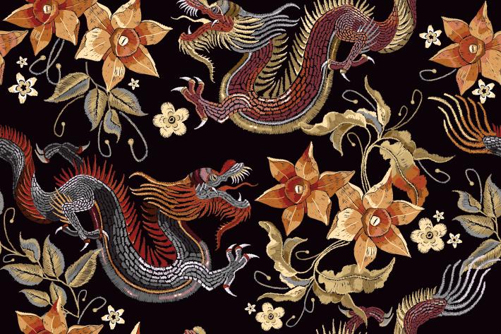 Fabric District Shanghai - Dragon Fabric Print - things to do in shanghai