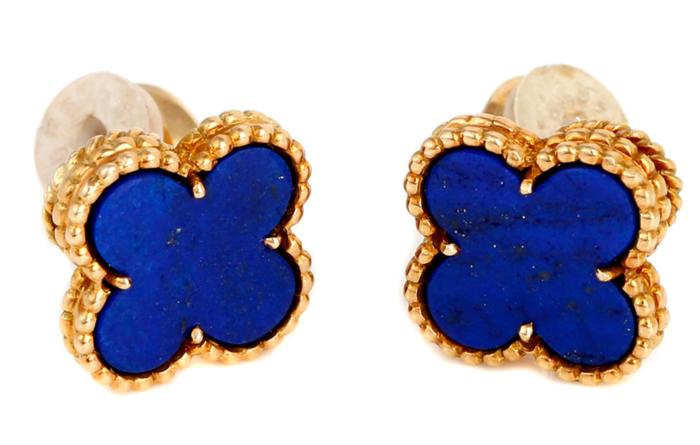 must have accessories van cleef arpels vintage alhambra lapis gold earrings - fashion tips - must have earrings - van cleef earrings - vintage earrings - lapis and gold earrings - essential accessories - stud earrings