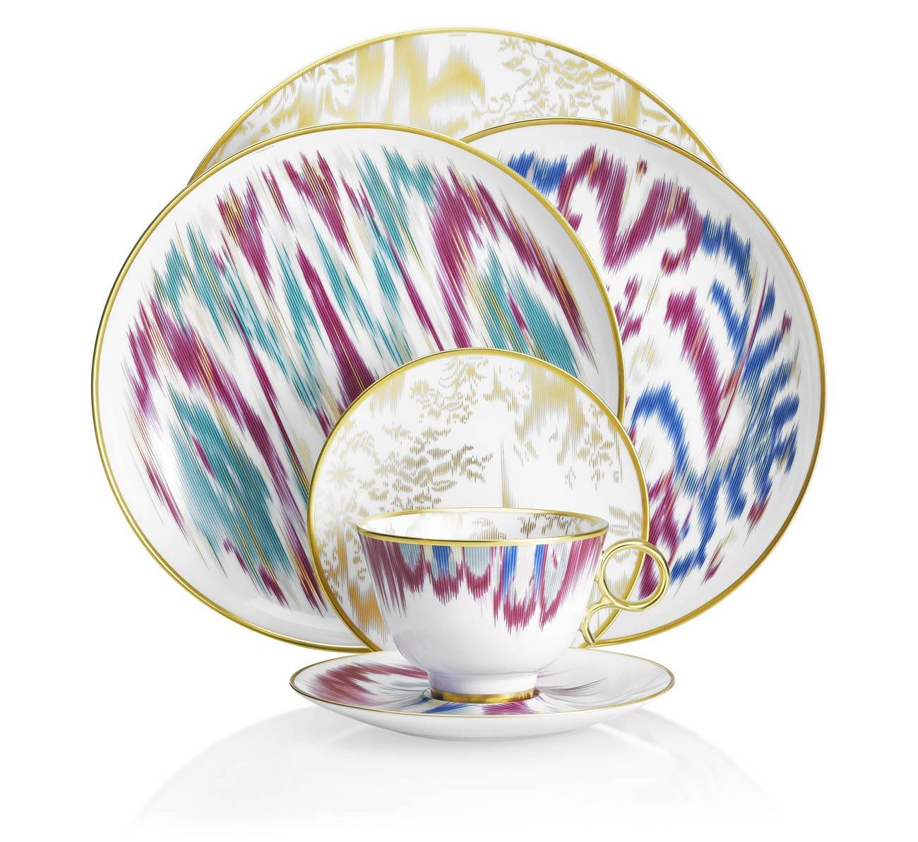 Hermes Voyage En Ikat Dinnerware - luxury dinnerware - luxury tableware - hermes dinnerware