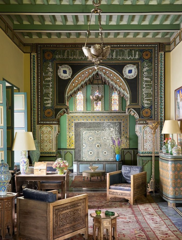 Living room green Moroccan interior design