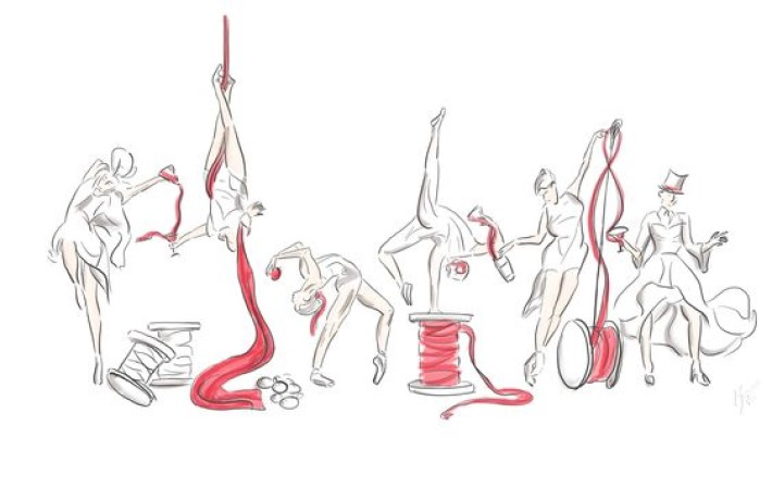 visual storytelling sketch by photographer marco joe fazio of women ballerinas dancing with thimbles of ribbon