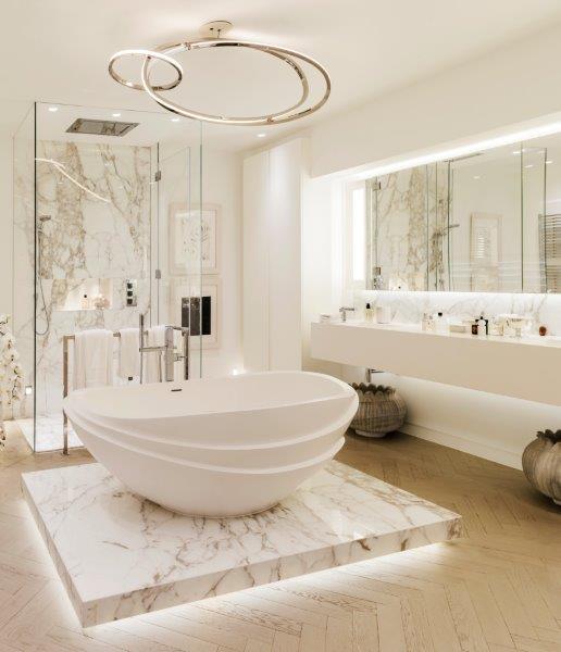 Mel Yates Kelly Hoppen London Home - Luxury Bathroom Ideas - white marble tubs - luxury tubs - white bathroom ideas - marble bathroom ideas