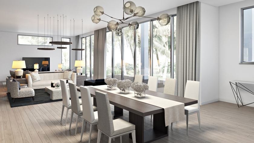 Miami Beach Residence Rendering - Light on White - Alizee Brion - Top Miami Interior Design Firms - best interior designers miami - miami interior design - luxury interiors - dining room design ideas - dining room ideas - luxury dining rooms - dining room chandeliers - luxury lighting - luxury furniture