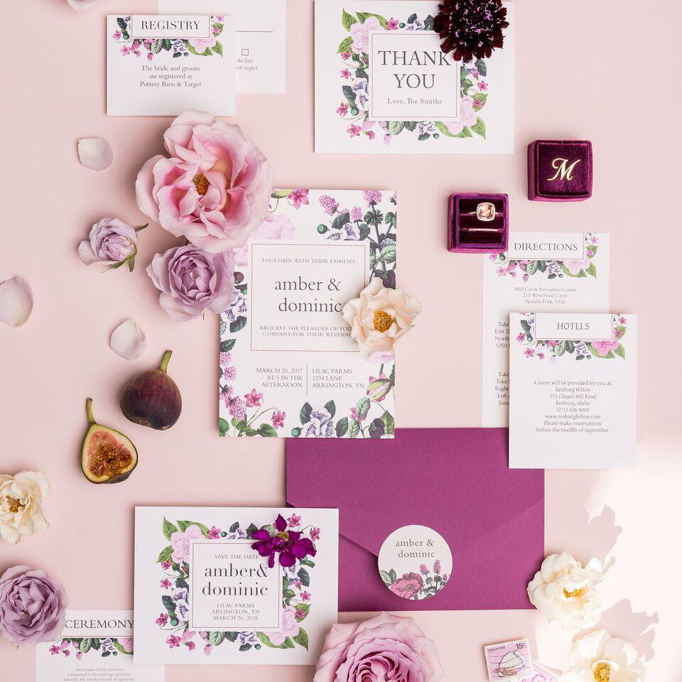 vintage botanical invitation - custom wedding invitations - luxury wedding invitations