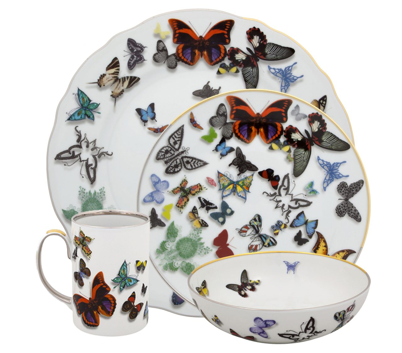 Vista Alegre butterfly parade christian lacroix butterfly parade luxury dinnerware - luxury tableware - luxury table setting ideas