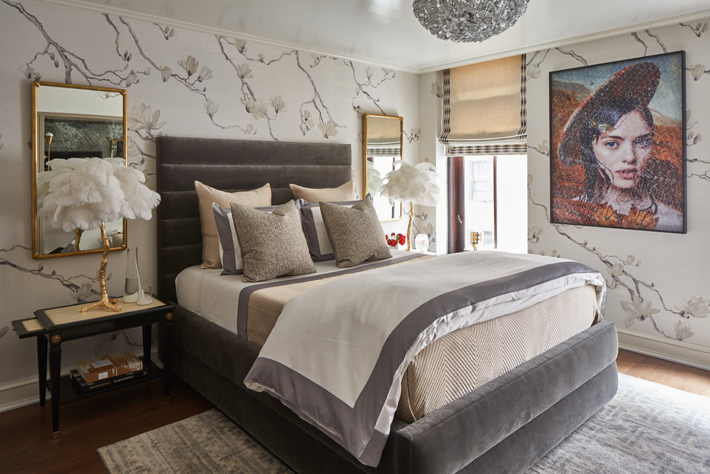 Guest Bedroom by A List Interiors Holiday House NYC 2018 Featuring A Modern Grand Tour Feather Table Lamp c. Marco Ricca Studio