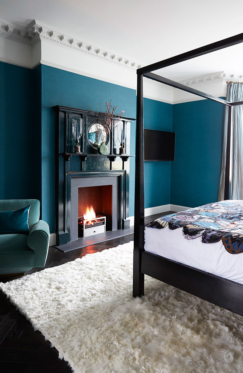 luxury interior Blue and Black Master Bedroom Design by Trilbey Gordon
