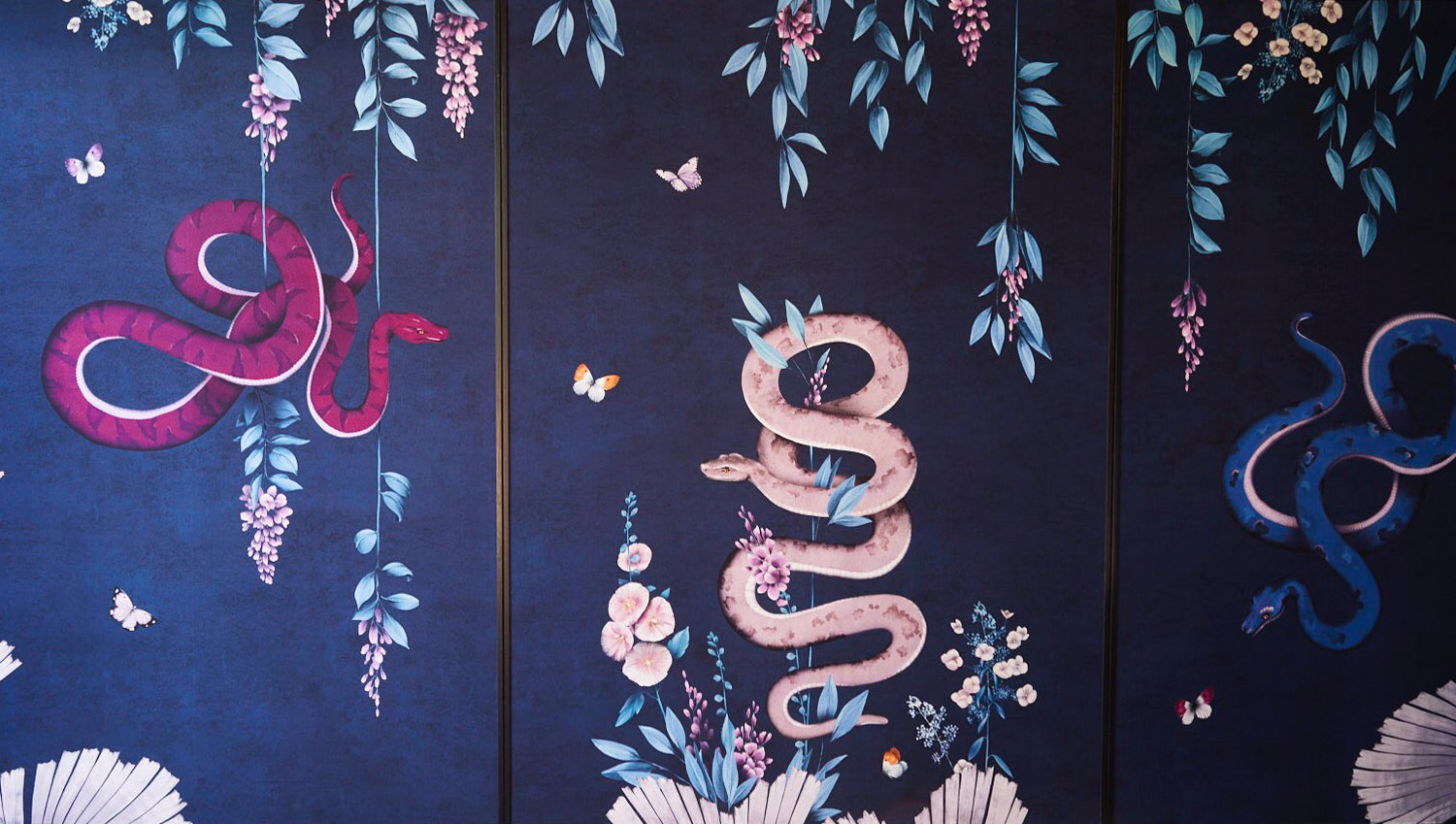 Blue and Pink Silk Panels with Snakes Design by Trilbey Gordon