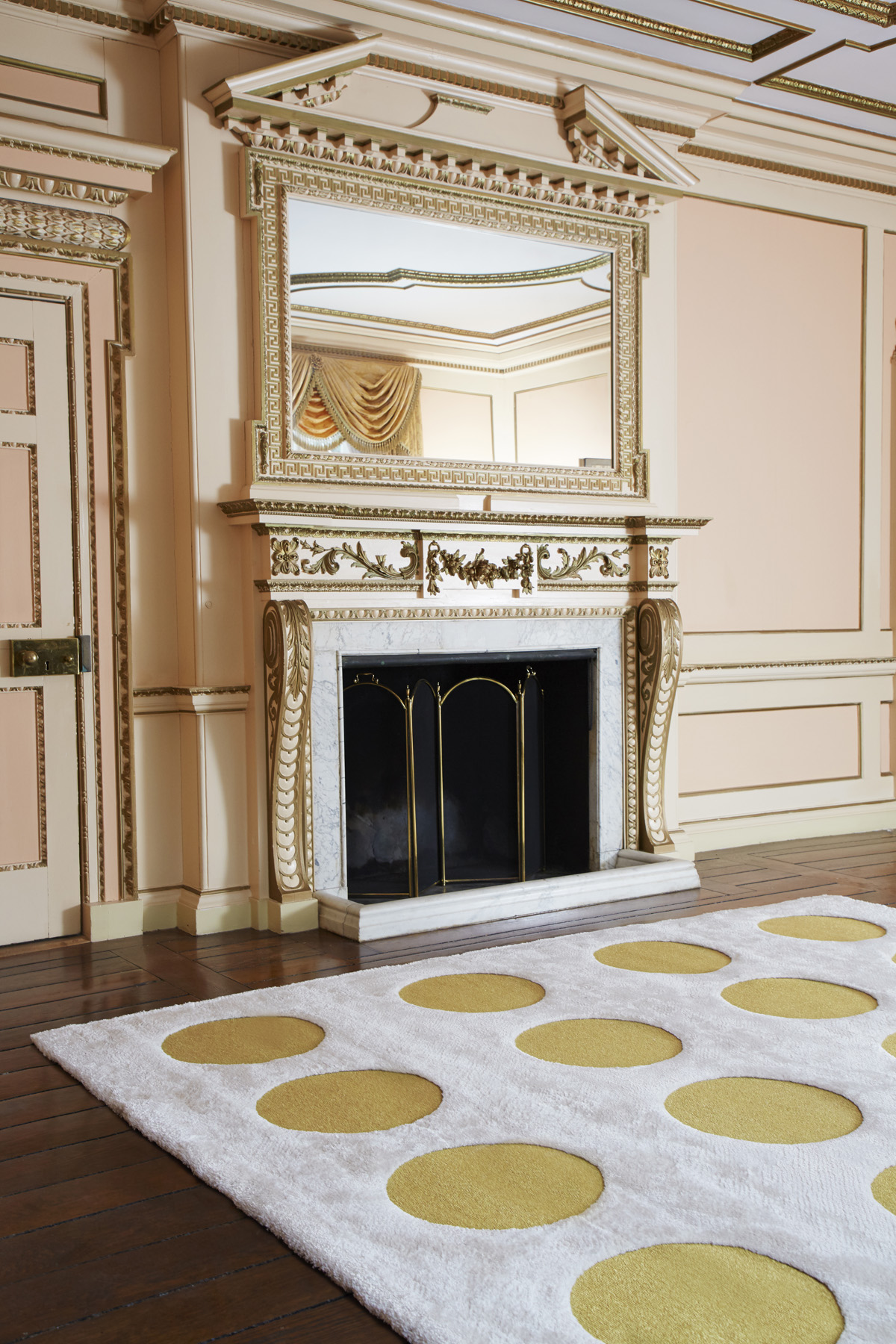 Disco Dots Rug in Gold & Pearl by Sasha Bikoff Rugs Interior Design NYC