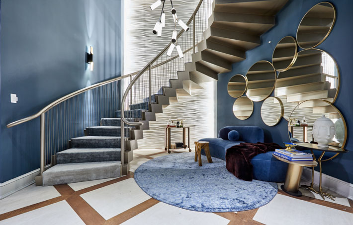 Blue and Gold Staircase Landing by Interior Marketing Group Holiday House NYC 2018 c. Frank Trimble