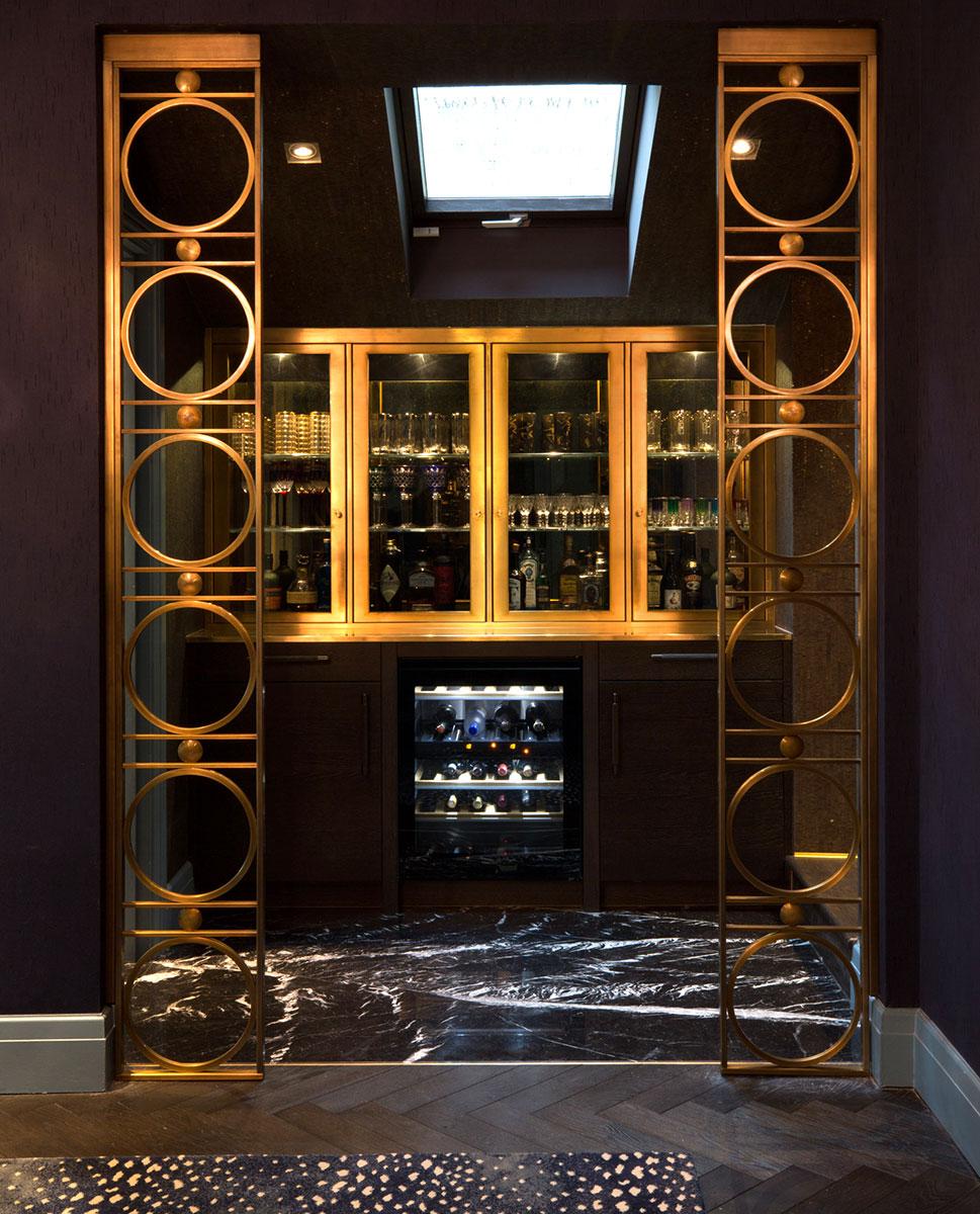 Luxury interior Brass Bar Design by Trilbey Gordon
