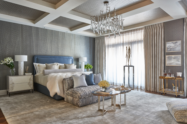 Blue and Gray Luxury Master Suite by Natalie Kraiem Interiors Holiday House NYC 2018 c. Marco Ricca Studio