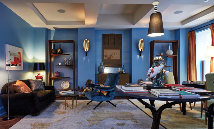 Blue Master Sitting Room by Perry Sales Interior Design Holiday House NYC 2018 c. Frank Trimble