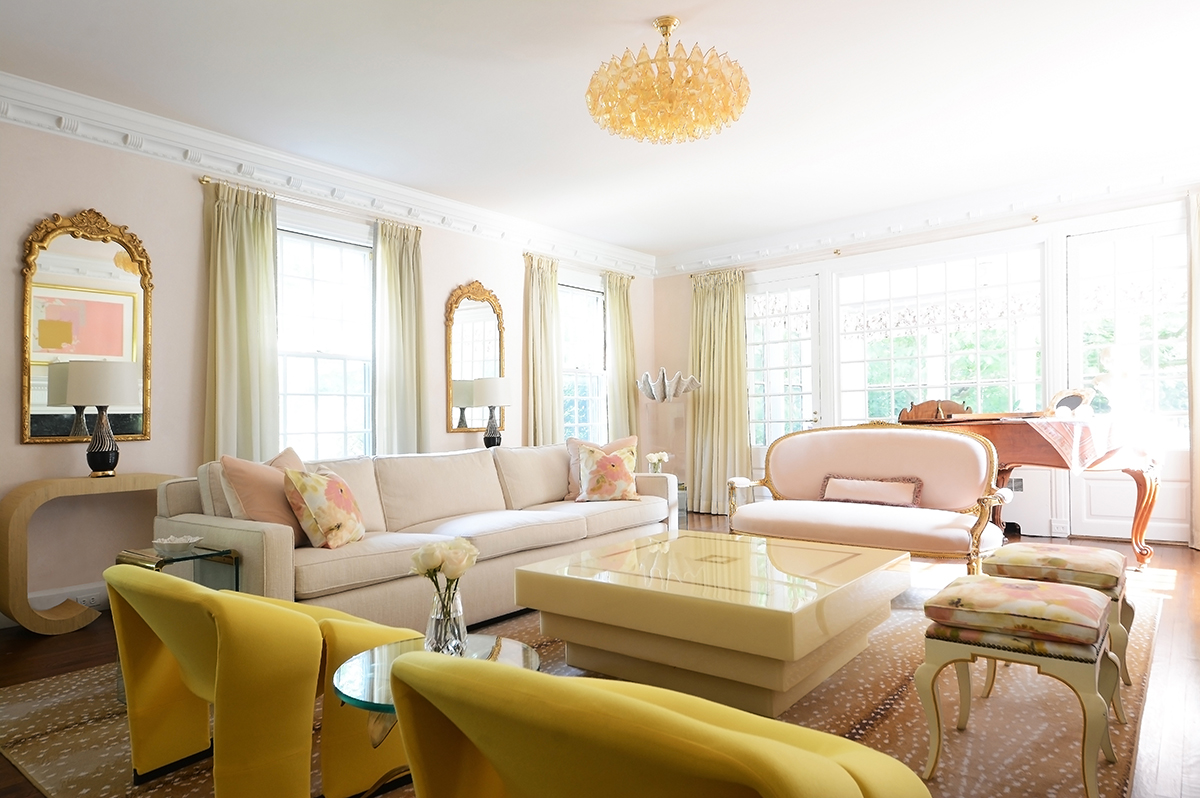 Georgian Home Living Room Design with Soft Pinks and Yellows by Sasha Bikoff Interior Design NYC