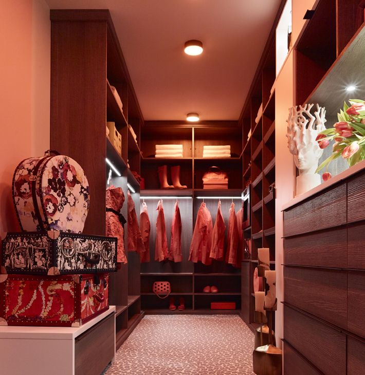 Red and Pink Dressing Room by Rio Hamilton Holiday House NYC 2018 with Closet by California Closets and LG Appliances by AJ Madison c JJ Jetel