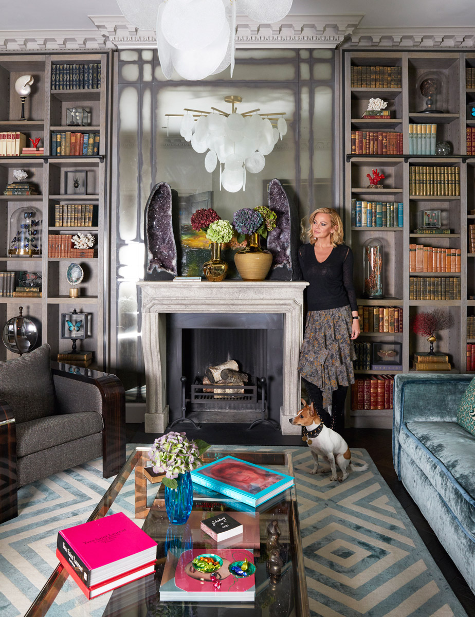 Trilbey Gordon in A Luxury Interior She Designed with custom bookcases, amethyst art