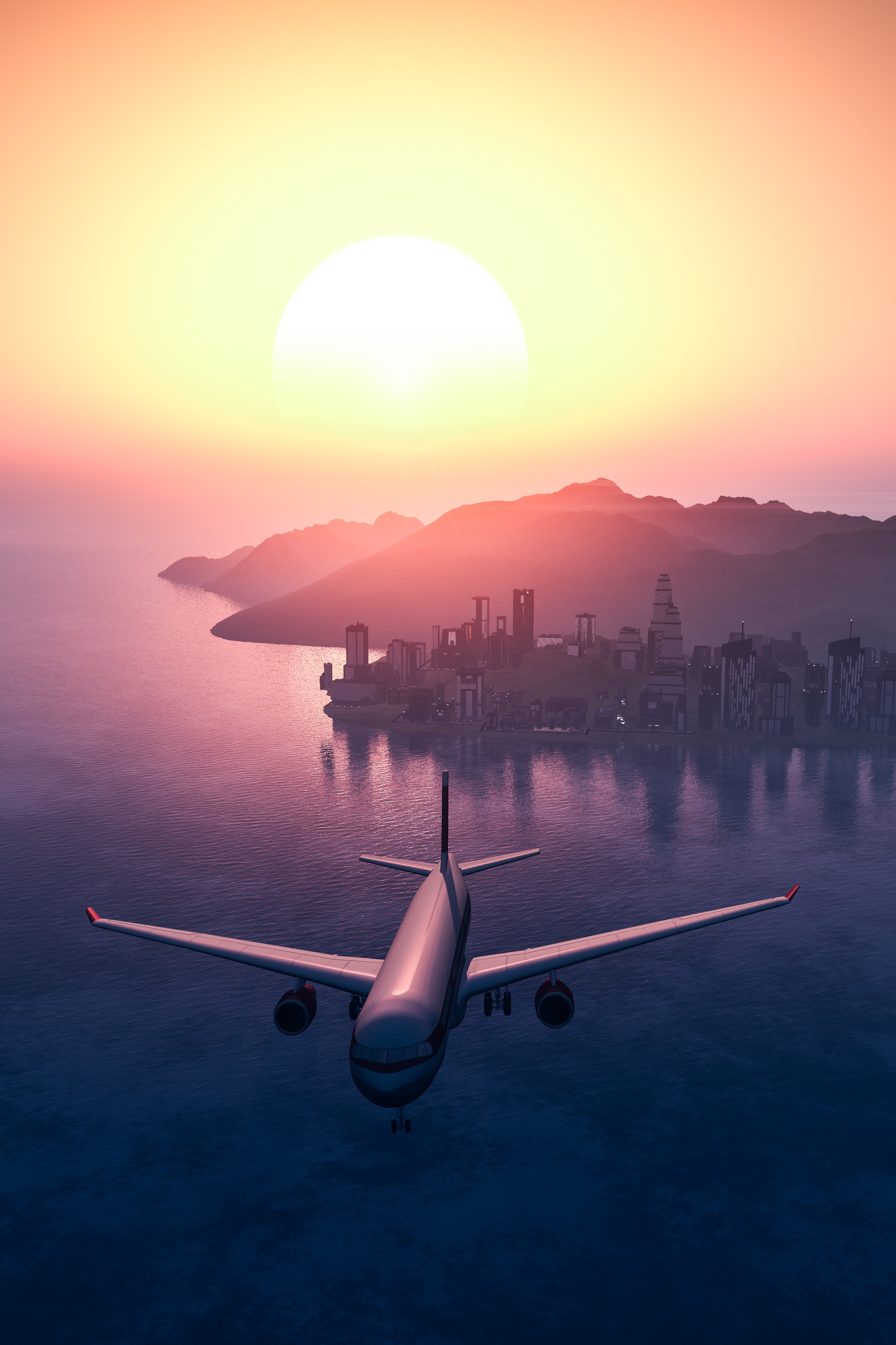 private jet flying over the ocean with a sunset - private planes - vistajet