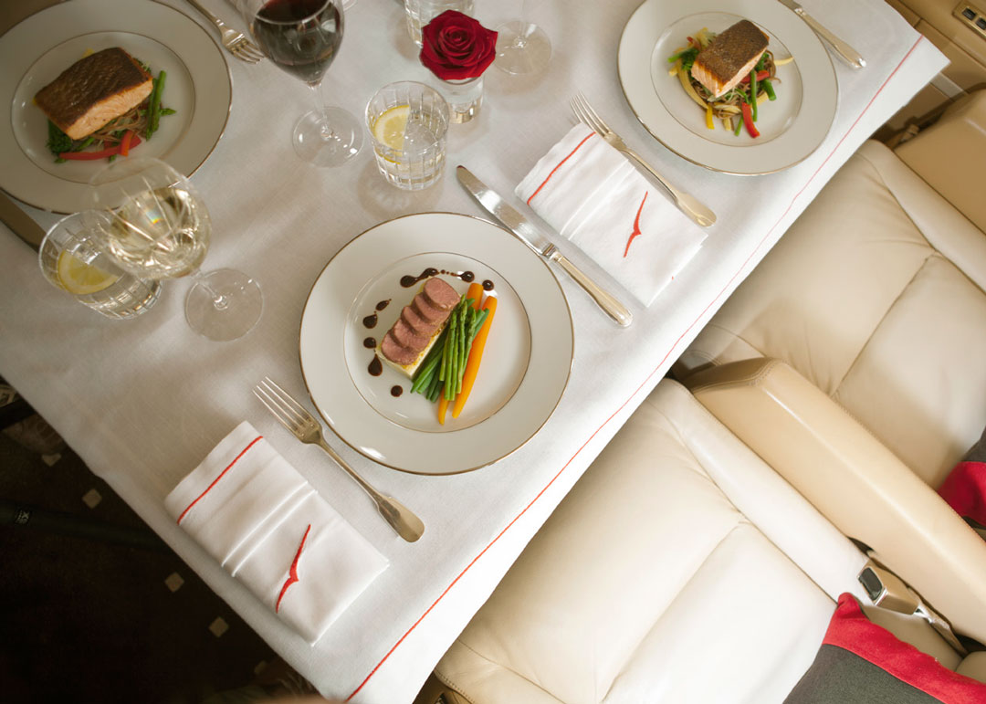 luxury cuisine on a private jet