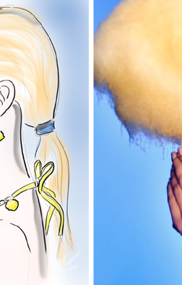 visual storytelling photography by marco joe fazio - sketch and real photograph of a beautiful woman holding yellow cotton candy on a stick for Cotton Candy and the Lightness of Being campaign for Chiara Martinelli jewellery designer