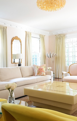Georgian House Living Room Design with Blush Pinks and Mustard Yellows and Golds by Sasha Bikoff Interior Designer NYC