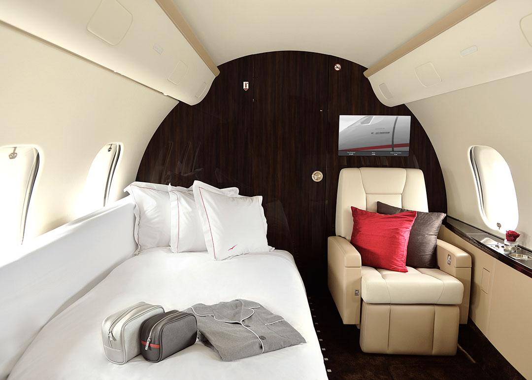Bed in a private jet by visatjet