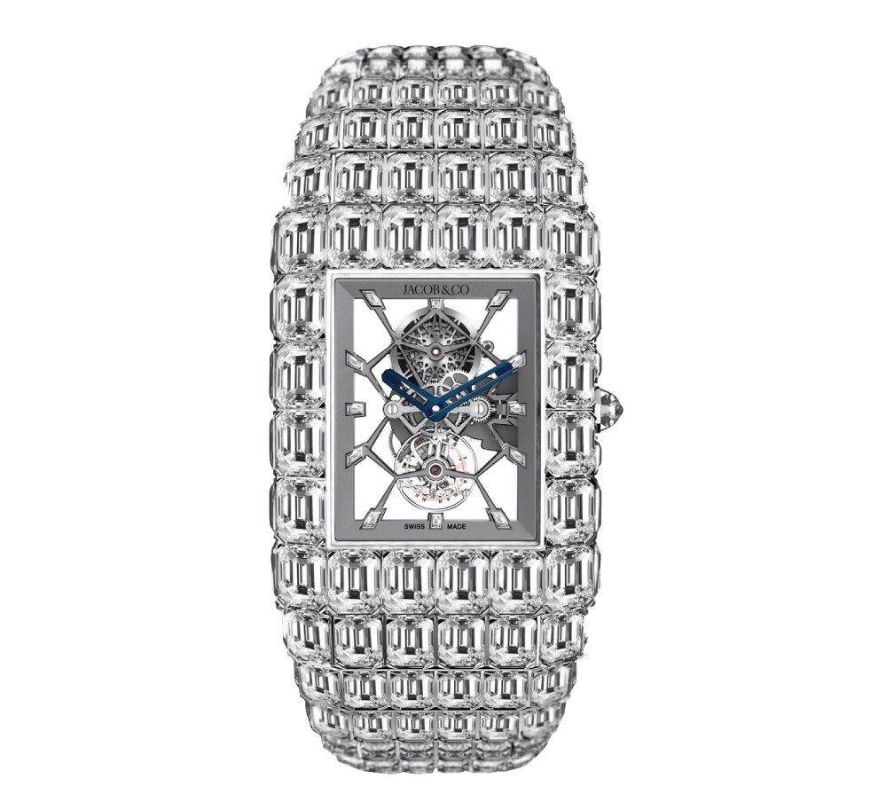 Jacob & Co. Billionaire Watch covered in baguette diamonds with a skeleton movement - one of the Most Expensive Watches Ever Made $18 Million