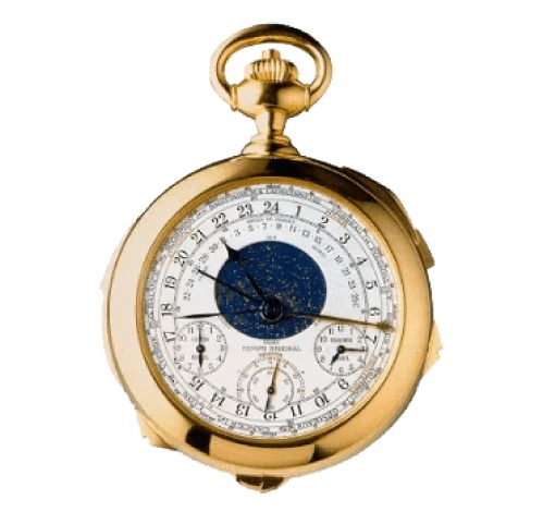 Patek Philippe Henry Graves Supercomplication pocket watch in gold with a white and blue face with lots of features - one of the Most Expensive Watches Ever Made$24 Million