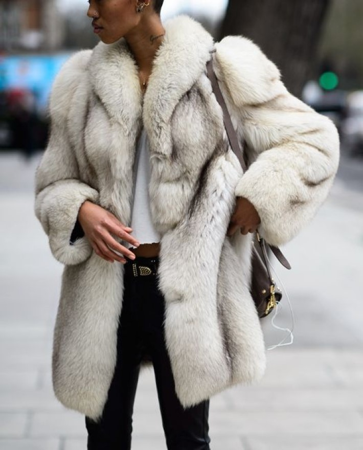 Women with luxury winter clothing