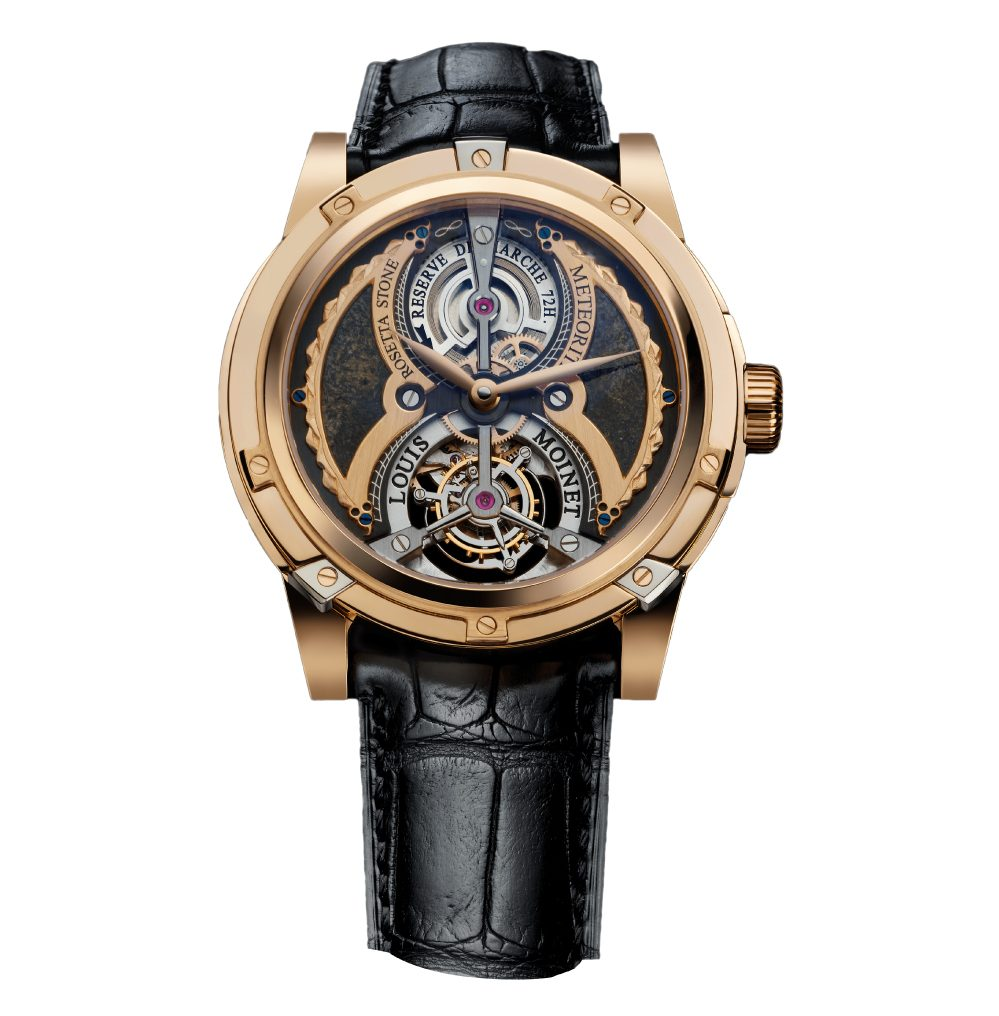 Louis Moinet Meteoris watch with black leather band and brass frame - one of the most expensive watches ever made$4.6 Million