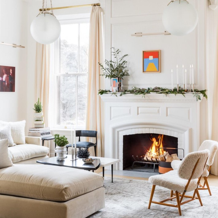 White Cozy Living Room with Fireplace