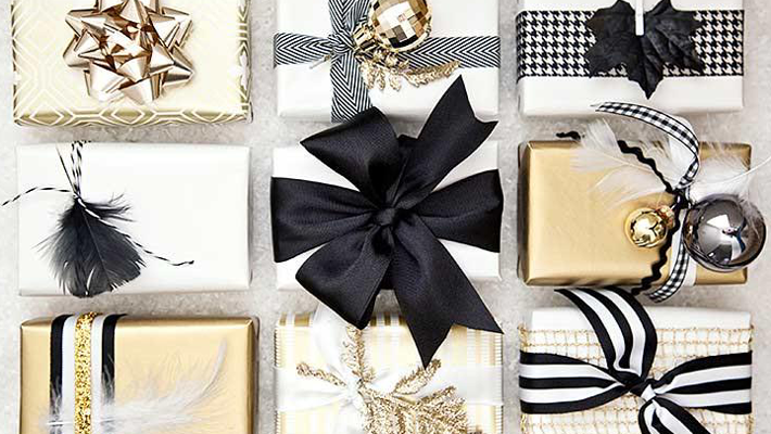 Small Gold, Black and White Wrapped Gifts - Little Luxuries Gift Guide - Good Things in Small Packages
