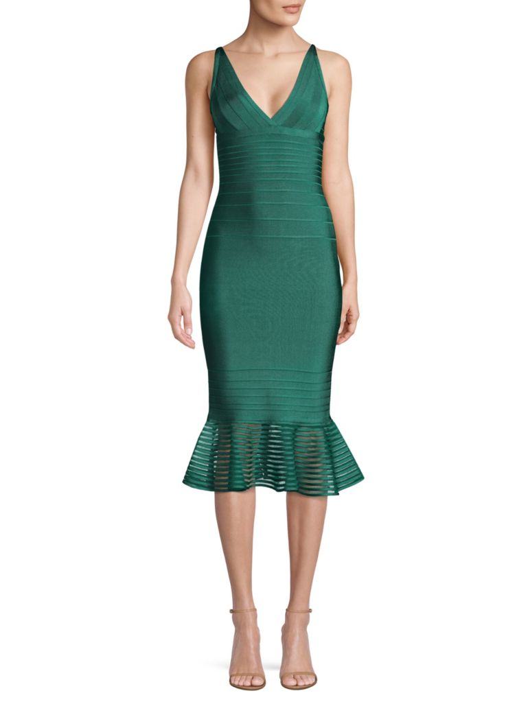 Herve Leger Illusion Mesh Flutter Hem Midi Dress - what to wear to a new year's party