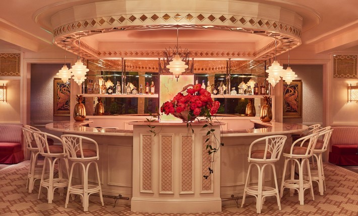 Art Deco Pink Bar at Swan Miami Bar Bevy by Interior Designer Ken Fulk - Best New Restaurants in Miami Design District
