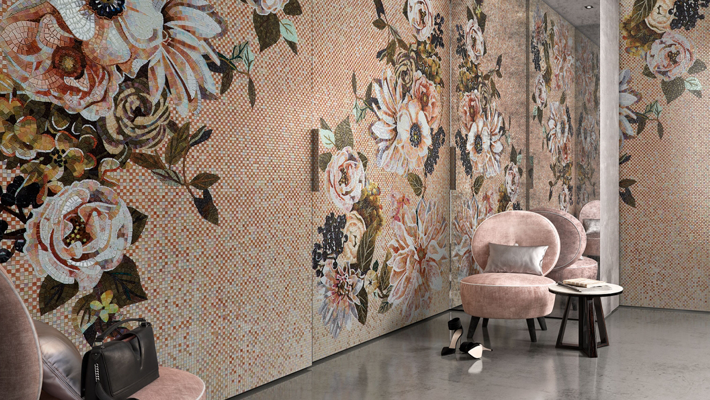 pink floral tile mural by SICIS - love happens best of 2018 - top articles of 2018