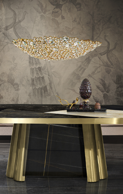 luxury lighting - decodiva marble and brass oval dining table - nahema dining chair - eternity 2 crystal chandelier - koket projects