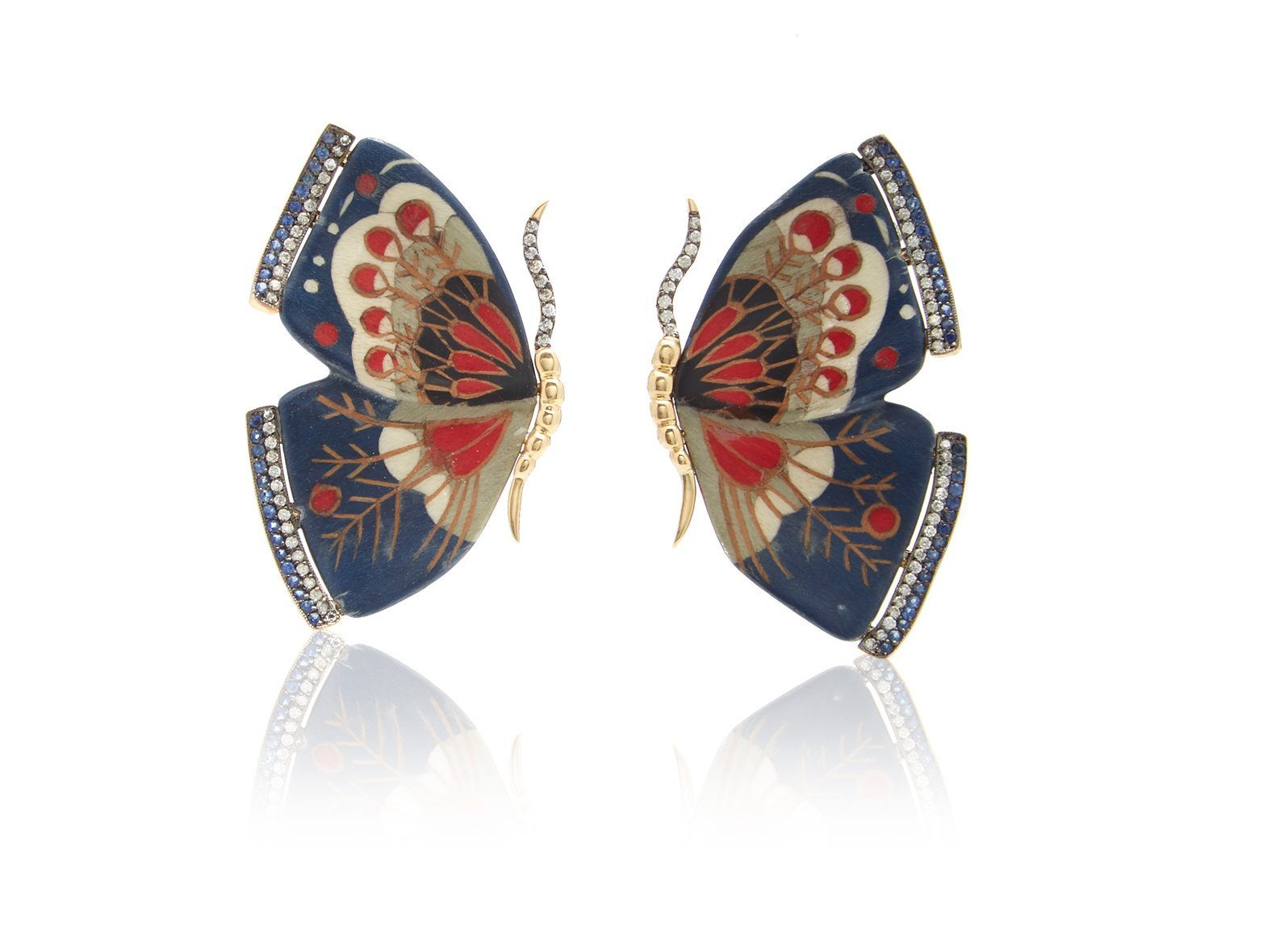 silivia furmanovich Sculptural Botanical Marquetry Blue Butterfly Earrings - Little Luxuries Gift Guide - Good Things in Small Packages